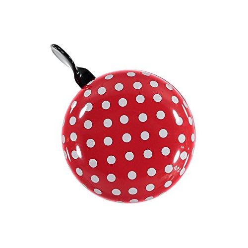 URBAN ZWEIRAD Fahrradklingel/Fahrrad Glocke Big Mama (groß), Klingel für Hollandrad oder Damenfahrrad (rot mit Polka Dots)