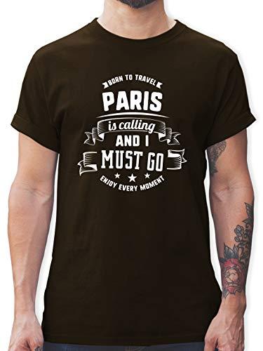 Städte - Paris is Calling and I Must go Weiß - S - Braun - l190_Shirt_Herren - L190 - Tshirt Herren und Männer T-Shirts