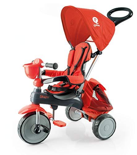 QPLAY Triciclo evolutivo Ranger - Rojo - De 10 a 36 Meses - Acolchado con Bolso y Capota