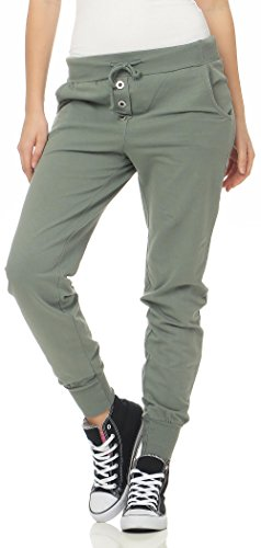 Malito Damen Jogginghose im Classic Look | Sporthose in Unifarben | Baggy zum Tanzen | Sweatpants - Trainingshose 8021 (Oliv)