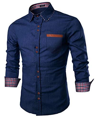 COOFANDY Men's Casual Cotton Long Sleeve Denim Dress Shirt Plaid Collar Slim Fit Button Down Shirt