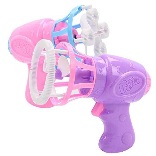 Divertida máquina de burbujas eléctrica automática para verano, con mini ventilador para niños, juguete para exteriores, color ocasional.