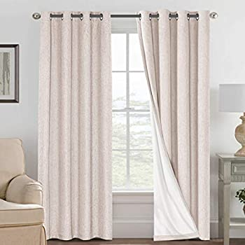 Linen Blackout Curtains 84 Inches Long 100% Absolutely Blackout Thermal Insulated Textured Linen Look Curtain Draperies Anti-Rust Grommet Energy Saving with White Liner 2 Panels Natural