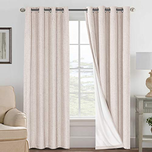 Linen Blackout Curtains 84 Inches Long 100% Absolutely Blackout Thermal Insulated Textured Linen Look Curtain Draperies Anti-Rust Grommet, Energy Saving with White Liner, 2 Panels, Natural