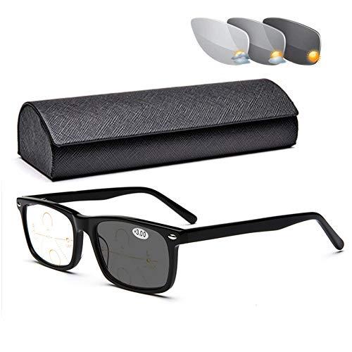 MUJING GleitsichtbrilleBlaulicht Blockierende Brille Zum Lesen, Progressive Multifokusfilter-Brille Und Damen-Sonnenbrille UV-Schutz Mit Röhrengehäuse, Elegante Federscharniere Im Vollrahmenstil