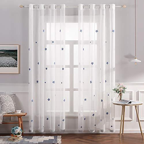 MIULEE Sheer Vorhang Voile Sterne Stickerei Ösen transparent Gardine 2 Stücke Ösenvorhang Schals Fensterschal für Kinderzimmer Wohnzimmer Schlafzimmer 225 cm x 140 cm(H x B) 2er-Set