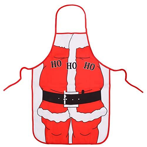 Belle Vous Weihnachtsschürze - 70 x 49 cm Schürze Weihnachten Kochschürze Weihnachtsmann Nikolaus Schürzen Männer, Frauen und Kinder - Küchenschürze Lustig Kochen Weihnachtsessen Weihnachtsfeier Party