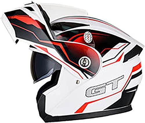 Cascos Moto Hombre Casco de motocicleta Bluetooth de cara completa Moto Ciclomotor Street Bike Racing Casco protector abatible Viseras dobles Modular Cara completa para hombres y mujeres adultos Aprob