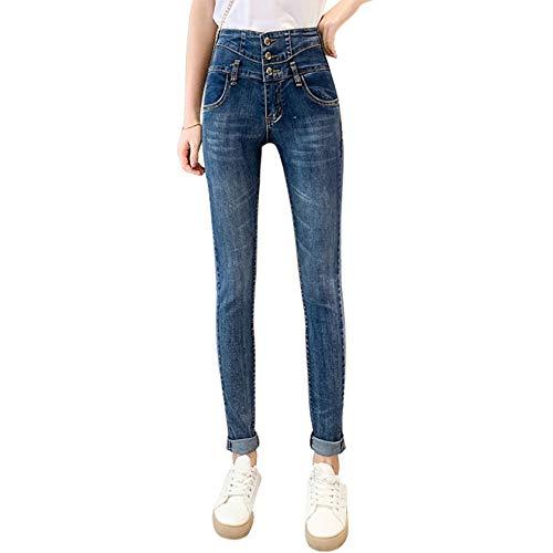 GenericBrands Pantalones Casuales para Mujer Pantalones Vaqueros elásticos de Cintura Alta de otoño Pantalones de Tubo de Tres Botones más Delgados y Salvajes