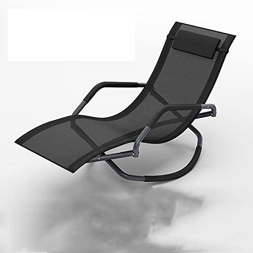 QAZW Tumbona Mecedora Chaise para El Patio Silla para Tomar El Sol con Sillón Reclinable Cama para Dormir Movible Incluye Almohada y Camuflaje Farbic Transpirable,Black