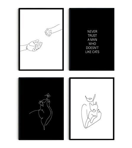 Pinearts Premium Poster Set - Deko für Katzenliebhaber | Indie Room Decor | Kunstdruck Poster mit Motiven und Sprüchen | Wohnzimmer Deko Modern | Wanddeko Schlafzimmer | 4 x DIN A4 | OHNE RAHMEN