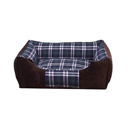 Chenil Hondenbed, geruit, bed van velours, voor de winter, warm, voor huisdieren, bank, afneembaar, wasbaar, voor puppy's, katten, huis, voor kleine middelgrote honden,, 42x28x18cm, Groen
