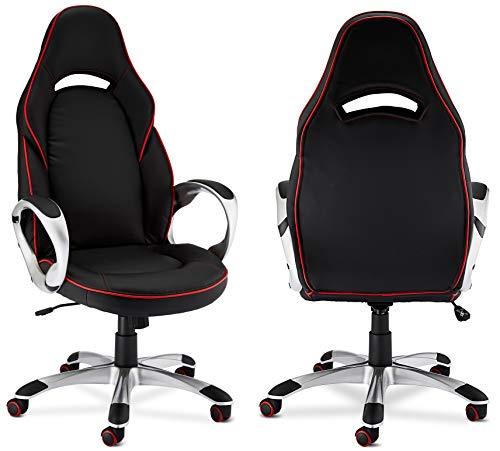 Ibbe Design Ergonomisch Schwarz Kunstleder Bürostuhl Schreibtischstuhl Speedy mit Armlehne, Höhenverstellbar, Drehstuhl, Belastbar 150kg, L70xB66xH131cm