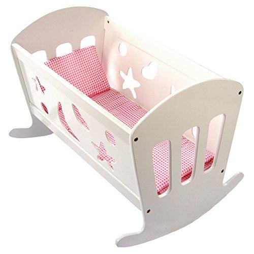 Bino & Mertens 83699 Bino Puppenwiege mit Bettwäsche, Kinderzimmer Zubehör, Spielzeug für Kinder ab 3 Jahre (weißes Puppenbett inkl. Matratze, Decke & Kissen, seitliche Herz, Mond & Stern Ausschnitte)
