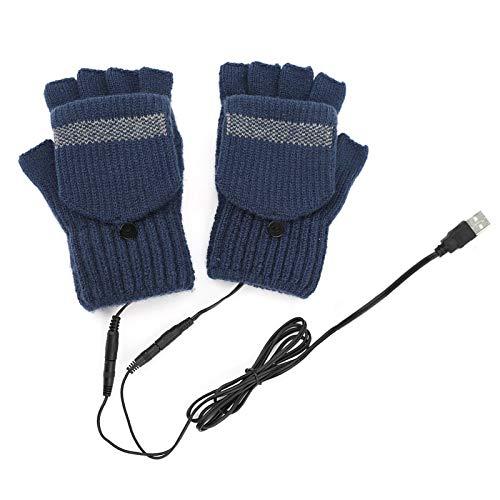 biteatey Guantes de invierno con medio dedo, lana que mantienen el calor medio sin dedos, USB, lavables, para invierno, medio dedo