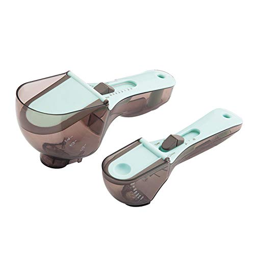 Cuchara de medición ajustable, 2 cucharas medidoras de plástico magnético para herramientas de cocina, medidas para sólido/polvo/líquido