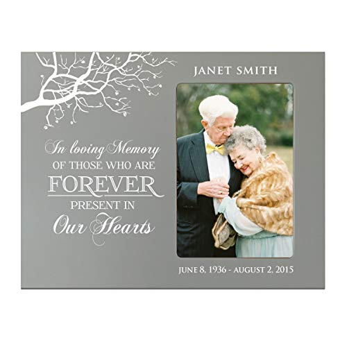 """LifeSong Milestones Personalized Bereavement Memorial Picture Frame Gift for Loss of Loved One Sympathy Photo Frame Holds 4"""" x 6"""" Photograph (Grey)"""