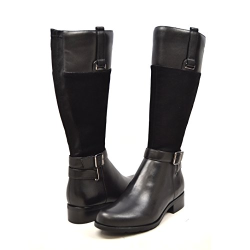 SoleMani Gabi 13' Slim Calf Women's Black Leather/Suede Boot 7