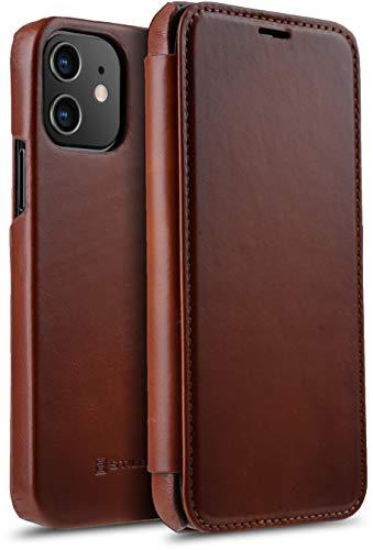 """StilGut Book Hülle kompatibel mit iPhone 12/12 Pro (6.1"""") Hülle aus Leder zum Klappen, Klapphülle, Handyhülle, Lederhülle - Cognac Antik"""