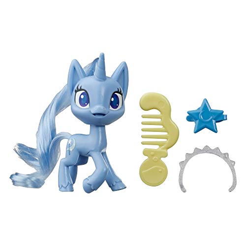 My Little Pony Trixie Lulamoon Potion Pony Figure -- 3' Blue Pony Toy with Brushable Hair, Comb, & 4 Surprise Accessories