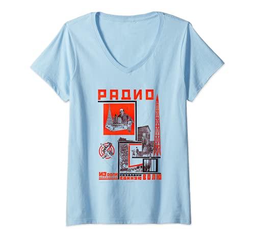 Donna Radio Retro Vintage Propaganda Sovietica. SOVI8 Maglietta con Collo a V