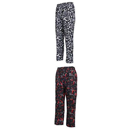 F Fityle 2 Piezas de Pantalones de Cocinero Unisex Profesionales, Uniforme de Pantalones de Cocina de Catering