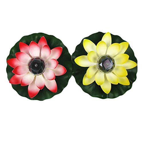 FRCOLOR 2 Stücke Solarbetriebene Lotus Laterne LED Schwimmende Blumen Solarleuchten Lotusblume Künstliche Seerosen Wasserdicht Solar Lotusblüte Lotusblatt Licht für Teich Garten Deko