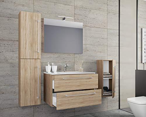 VCM 5-TLG. Waschplatz Badmöbel Badezimmer Set Waschtisch Waschbecken Schubladen Keramik Badinos Spiegel Breite 80 cm: Sonoma-Eiche