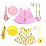 POPETPOP 2 Pieces Pet Rabbit Dress- Small Animal Harness and Leash with Mini Hat Bag Outdoor Apparel Cosplay Clothes Accessory for Pet Rabbit Bunny Hedgehog Ferret