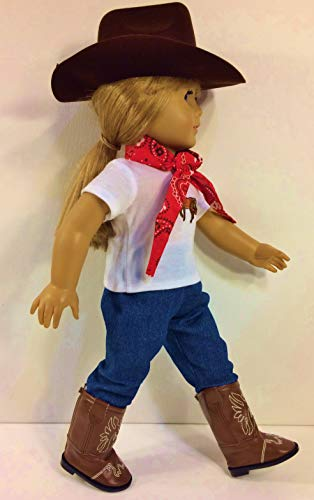 Western Cowgirl Cowboy Outfit ~ Doll Clothes for 18 Inch Dolls or American Girl Brown Hat, Brown Boots,Jeans, Bandanna, Horse Top !! Complete Set!