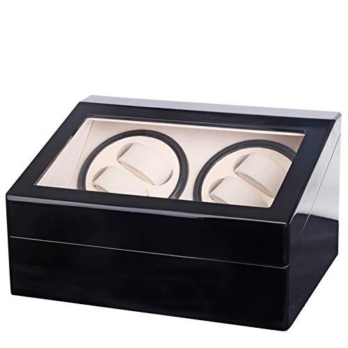 XYSQ Lujo Watch Winder Caja De Enrollador De Reloj De Cuero De PU para 4 Relojes + 6 Almacenes Caja De Joyería Caja De Reloj con Motor Silencioso Exhibición (Color : B)