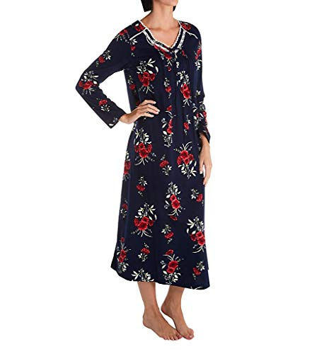 Carole Hochman Soft Jersey Long Sleeve Long Gown Navy/Red Floral MD