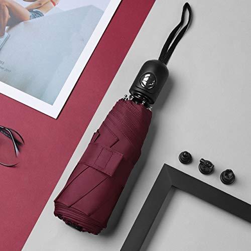 NJSDDB paraplu nieuwe mini automatische vouwparaplu winddichte omgekeerde dubbele laag zonnebrandcrème paraplu ondoordringbare paraplu met doos, Wijn Rood