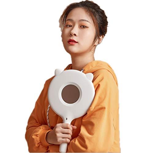 ZANZAN Espejo de maquillaje con LED, espejo cosmético portátil de escritorio, con asa, para bolsos, bolsos, bolsos, bolsos, regalos femeninos (color: luz blanca monocromática)