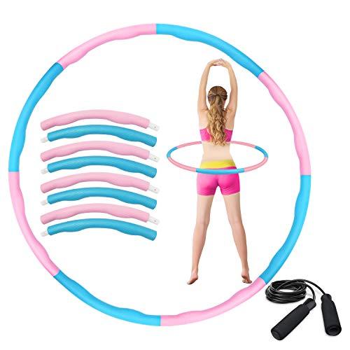 HAIGOU Hula Hoop Reifen zur Gewichtsreduktion,Reifen mit Schaumstoff ca 1 kg,Gewichten Einstellbar Durchmesser 75-95 cm mit Seilspringen