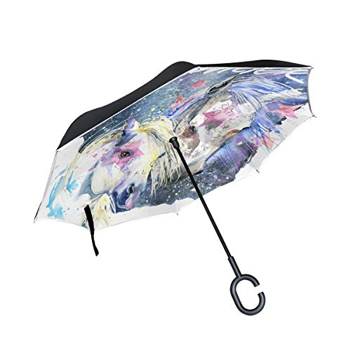XiangHeFu Double Couche inversé inversé parapluies Ciel étoilé Ciel Couple Univers Vagabond Pliant Coupe-Vent Protection UV Grande Droite pour Voiture avec poignée en Forme de C