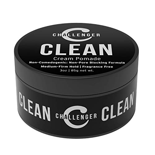 Clean Matte Cream Pomade - Unscented, Non-Comedogenic - 3oz Challenger Clean - Medium Firm Hold - Non-Pore Blocking, Shine Free, Water Based. Fragrance Free Hair Wax, Fiber, Paste in One