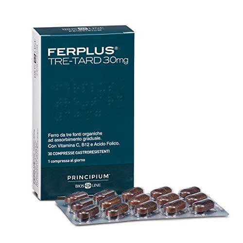 BIOS LINE Principium FerPlus Tre-Tard, Integratore ferro a triplo rilascio, Integratore compresse contro la stanchezza con vitamina c e vitamina b12, 30 capsule gastroresistenti a tre strati