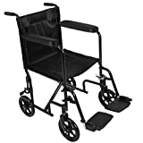 Lightweight Folding Wheelchair, PALDIN Transit Comfortable Portable Folding Travel Wheelchair with Brakes Removable Footrests,Black