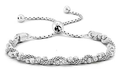 Pori Jewelers Italian 925 Sterling Silver DC Ball Twisted Coreana Adjustable Bolo Bracelet (Silver)