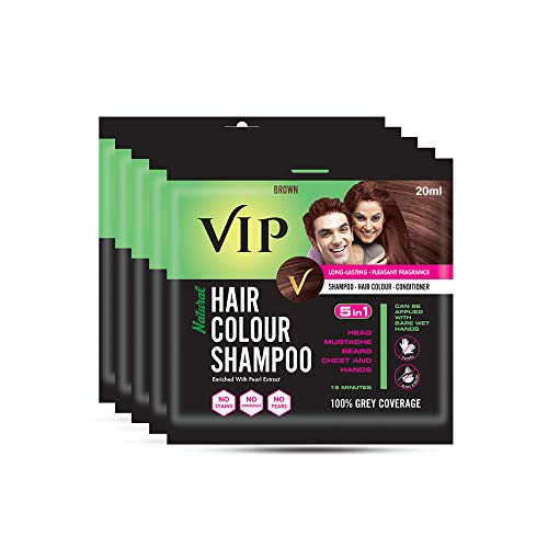 VIP Hair Color Shampoo, Brown, 20ml, (Pack of 5)