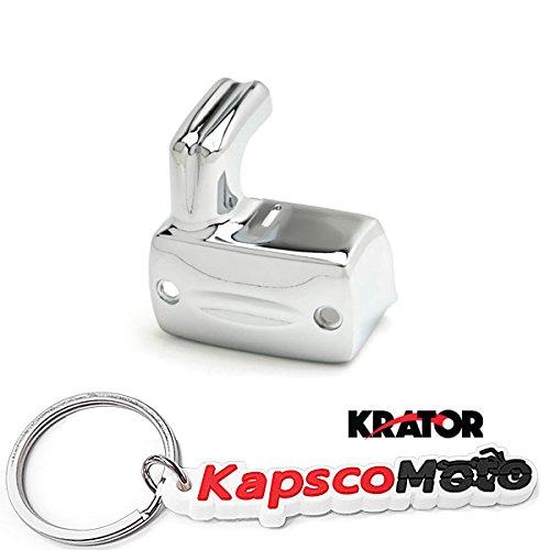 Krator Chrome Front Brake Fluid Cover Master Cylinder Reservoir Cap for Honda Shadow/VTX/VLX (1988-2013) + KapscoMoto Keychain