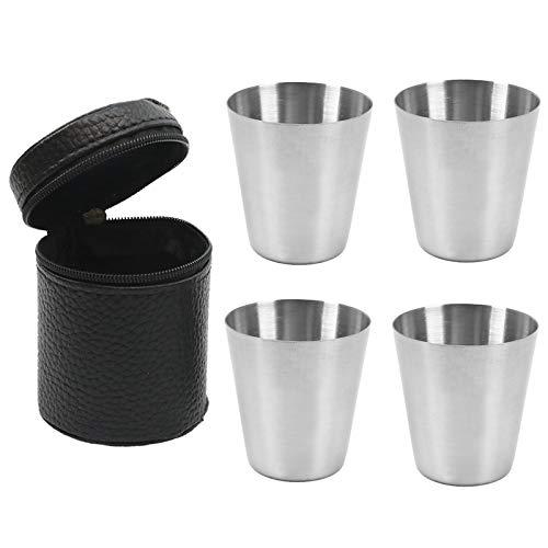 GESTAND Edelstahl Becher Set Schnaps-Becher aus Metall mit Leder-Tasche 30ml Flachmann Schnapsgläser für Outdoor Urlaub Camping (4 Stück)