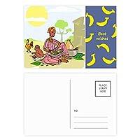 黒人女性のアフリカの原住民の子供のトーテム バナナのポストカードセットサンクスカード郵送側20個