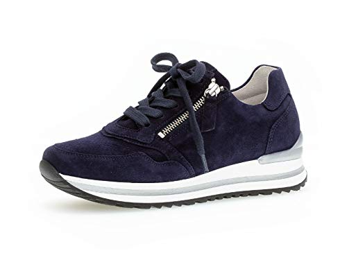 Gabor Damen Sneaker, Frauen Low-Top Sneaker,Comfort-Mehrweite,Reißverschluss,Optifit- Wechselfußbett, Plateau-Sohle,Bluette (perf.),39 EU / 6 UK