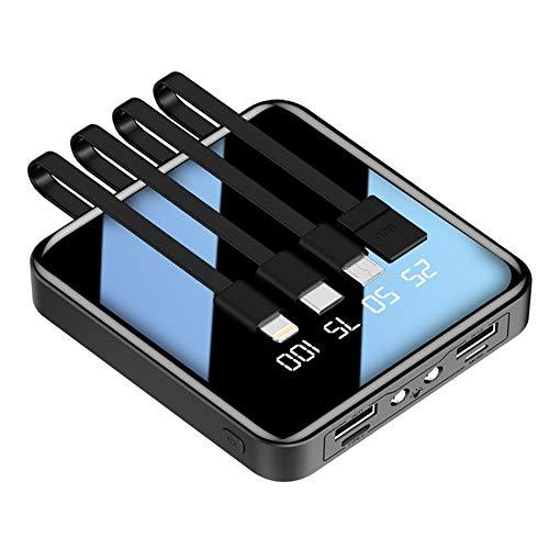 LISRUILY - Batería externa, potencia móvil, cargador, banco de alimentación de cuatro líneas, mini ultrafina, batería portátil 8000 mA