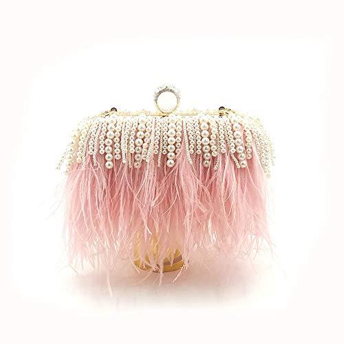 FDGH Bolsos Personalizados - Avestruz del Bolso De Cadena De La Perla del Pelo por La Noche, Bolso del Partido, Bolso De Bandolera, 15 * 7 * 20cm Exquisita Bolsa de Banquete (Color : Pink)