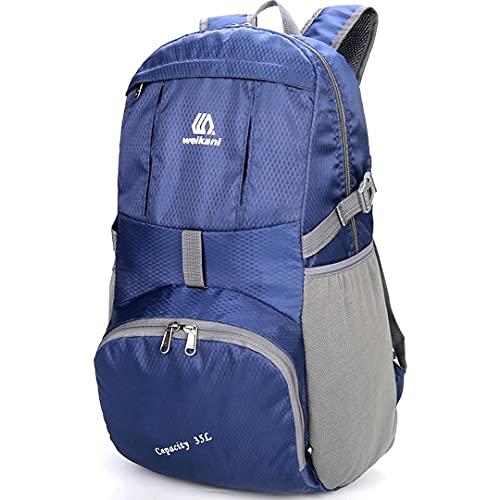 アウトドアハイキングバックパック カスタム名女性デイパックハイキングバックパック軽量男性超軽量パック35Lハイキングバッグ (Color : Shenlanse, Size : One size)