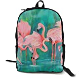 nbvncvbnbv Love Heart Flamingos Reiserucksack Canvas College School Rucksack Rucksack für Jungen und Mädchen Laptop Rucksack Resistant Bookbag Schwarz