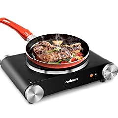 [MINI SIZE & PORTABLE]--This single-burner electric hot plate from CUSIMAX can squeeze into small spaces to provide easy and adaptable cooking, it's an ideal choice for student accommodation, office use, camping, parties, RVs, traveling or others. No...